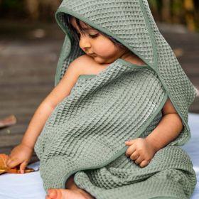 whitewater kids organic waffle hooded towel set