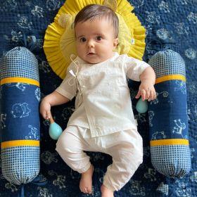 whitewater kids unisex organic essential white angrakha top + pants