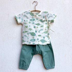 whitewater kids unisex organic fish print angarakha top + mint pants