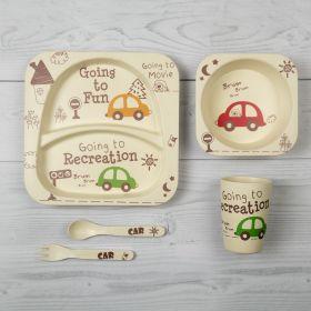 Baby Moo-Car White Bamboo Fiber Dinner Set