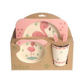 Baby Moo-Flamingo Pink Bamboo Fiber Dinner Set