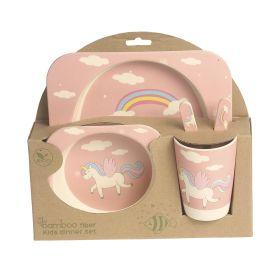 Baby Moo-Whimsical Unicorn Light Pink Bamboo Fiber Dinner Set